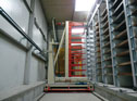 Shelving system for concrete bricks
